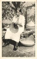 Ethiopian folklore, basket maker, Etióp folklór, kosárfonó