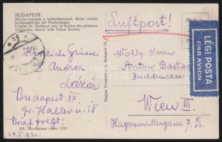 1930 Légi képeslap Bécsbe Repülő 80f bérmentesítéssel / Airmail postcard to Vienna