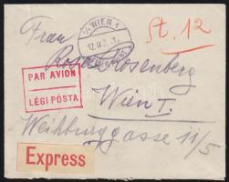 1922 Expressz légi levél Bécsbe 48K Arató + Parlament bérmentesítéssel / Expressz airmail cover to Vienna