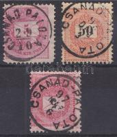 1881-1889 3 klf bélyeg CSANÁD - PALOTA közte E 2.2 típus