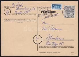 1953 Posthorn 8Pf egyes bérmentesítés levelezőlapon