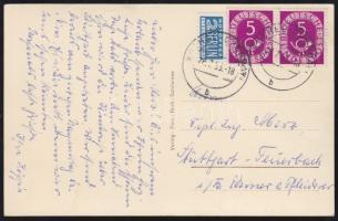 Posthorn 5Pf pair on postcard, Posthorn 5Pf pár képeslapon