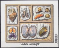 Clams and snails set self-adhesive on stamps page, Kagylók és csigák sor öntapadós bélyeglapon, Muscheln und Schnecken Satz an selbstklebendem Markenheftchen