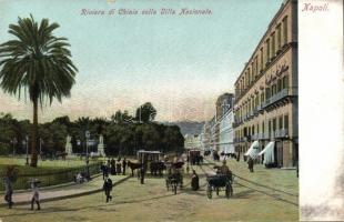 Naples, Napoli; Chiaia colla Villa Nazionale / villa, street