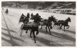 Lake St. Moritz, St Moritzersee; Pferderennen / horse driving racing