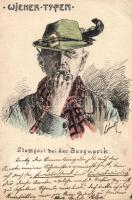Wiener Typen, Stamgast bei der Burgmusik, handmade postcard s: Lehner