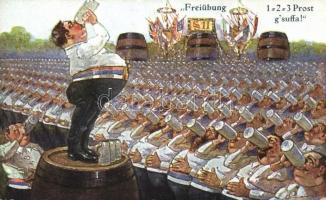 Freiübung / Beer drinking exercise, humour, A.S.M. Nr. 1244., Sörivó gyakorlat, humoros lap, A.S.M. Nr. 1244.