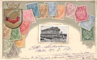 Berlin, National Gallerie / museum, coat of arms, German stamps, Ottmar Zieher's Carte philatelique No. 26. Emb. litho