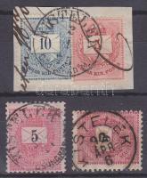 1874-1889 2 db bélyeg + 1 kivágás KISTELEK 2 klf bélyegző