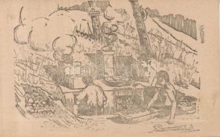 Hungarian scout group cooking, artist signed 1922 Balatonaliga, 91. Turul cserkész konyha, szignózott