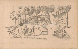 Hungarian scout camp s: Piczek Zoltán, 1922 Balatonaliga, Hatvani Turul Cserkésztábor, 91. HT. lev. lap sorozat I. s: Piczek Zoltán