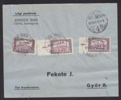 """Complete set on airmail cover, (2. díjszabás) Légi levél teljes sorral """"BUDAPEST"""" - """"GYŐR"""""""