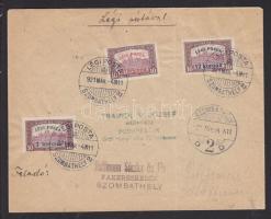 1921.03.04. (2. díjszabás) Légi levél teljes sorral / Complete set on airmail cover SZOMBATHELY - BUDAPEST