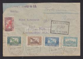 1924 (14.díjszabás) Légi levél Bécsbe Parlament Madonna és Ikarusz bélyegekkel bérmentesítve. / Airmail core to Vienna frauked with Parlament, Madonna and Icarus stamps (javított boríték/repaired cover)