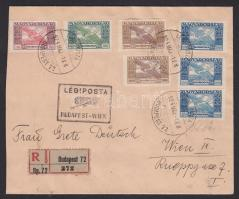 1924 (13. díjszabás) Légi ajánlott levél Bécsbe Ikarusz bélyegekkel bérmentesítve / Registered airmail cover to Vienna