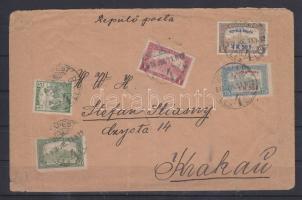 1918.07.11. Repülő posta sor + kiegészítő bérmentesítés légi levélen Krakkóba / Mi 210-211 + additional franking on airmail cover to Krakow. Signed: Visnyovszki