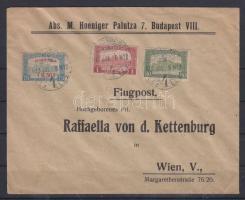 1918.jul. 8. Légi levél Bécsbe 1K50f Repülő posta bélyeggel és 1.80K kiegészítő bérmentesítéssel / Mi 210 with additional franking on airmail cover to Vienna. Signed: Visnyovszki