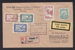 1927 Ajánlott légi levél BUDAPEST-MÜNCHEN légi irányító bélyegzéssel / Registered airmail cover with BUDAPEST-MÜNCHEN airmail cancellation