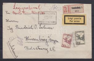 1927 Ajánlott légi levél Weissenburgba BUDAPEST-MÜNCHEN légi irányító bélyegzéssel / Registered airmail cover to Weissenburg, Bavaria with BUDAPEST-MÜNCHEN airmail cancellation