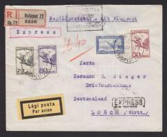 1927 Expressz ajánlott légi levél Lorchba BUDAPEST-MÜNCHEN légi irányító bélyegzéssel 8hajtóka hiányzik) / Registered express airmail cover to Lorch, Württemberg with BUDAPEST-MÜNCHEN airmail cancellation