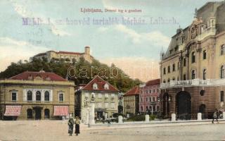 Ljubljana, Dvorni trg z gradom / square in the castle, Michael kastner's shop