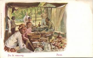 Java, In de warong / Java, market scene, folklore s: Jan van der Heyden