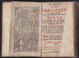 P. Martin von Cochem: Der Mittlere Goldene Himmelsschlüssel... , Pest, cca 1810 Trattner. Leather binding, good condition, P. Martin von Cochem: Der Mittlere Goldene Himmelsschlüssel... , Pest, cca 1810 Trattner. Korabeli egészbőr kötésben. Az első lap javított, de egyébként jó állapotban lévő imakönyv és kalendárium 376p, P. Martin von Cochem: Der Mittlere Goldene Himmelsschlüssel... , Pest, cca 1810 Trattner. Ganzlederband, guter Zustand