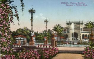 Sevilla, Placa de America, Estanque y Pabellon Real / square, lake, pavilion