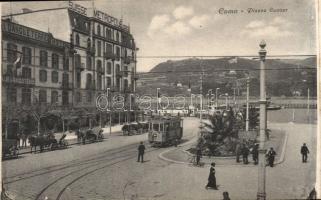 Como, Piazza Cavour, Hotel D´Angleterre, Hotel Metropole Suisse, tram