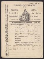 1873 Használatlan díjjegyes levelezőlap dekoratív hátoldali nyomattal (az aradi Pannonia élesztő gyár árjegyzéke) / Unused PS-card with yeast price list of the Arad Yeast factory, printed on the backside
