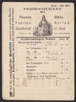 1873 Használatlan díjjegyes levelezőlap dekoratív hátoldali nyomattal (az aradi Pannonia élesztő gyár árjegyzéke) / Unused PS-card with yeast price list of the Arad Yeast factory, printed on the backside