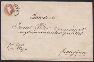 1861 15kr levélen / on cover PESTH - PÁPA - RAAB - CSORNA - kék / blue SZANY