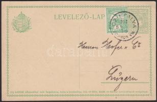1913 Díjkiegészített díjjegyes levelezőlap Svájcba / PS-card with additional franking to Switzerland CZINFALVA SOPRON VM. - Luzern