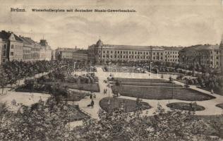 Brno, Brünn; Winterholler tér, Német Állami Kereskedelmi Iskola, Brno, Brünn; Winterholler square, German State Trade school