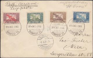 Airmail cover to Vienna franked  with Parliament, Ikarusz and Madonna stamps, (14. díjszabás) Légi levél Bécsbe Parlament, Ikarusz és Madonna bélyegekkel bérmentesítve