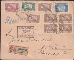 1924 (13. díjszabás) Ajánlott légi levél Bécsbe Ikarusz bérmentesítéssel / Registered airmail cover to Vienna