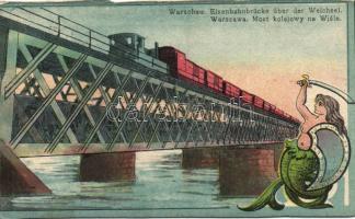 Warsaw, Warschau; Eisenbahnbrücke über der Weichsel /  Railway bridge