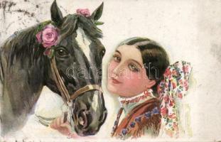Italian art postcard, lady, horse, Erkal No. 328/2. s: Usabal, Olasz művészlap, nő lóval, Erkal No. 328/2. s: Usabal