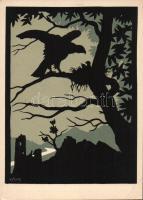 Mäusenbussard / Common Buzzard silhouette, night, Horns Serie 161. s: Hugo Prahl, Egerészölyv sziluett, este, Horns Serie 161. s: Hugo Prahl