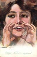Italian art postcard, lady,  '1916 IV. Károly király koronázása napján' So. Stpl s: Usabal, Olasz művészlap, hölgy '1916 IV. Károly király koronázása napján' So. Stpl s: Usabal