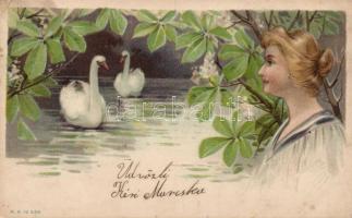 Lady with swans litho, Hölgy hattyúkkal litho