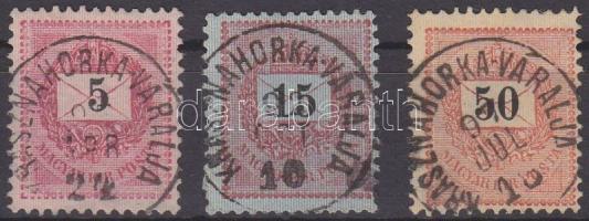 1889 5kr, 15kr, 50kr KRASZNAHORKA-VÁRALJA (Felvidék)