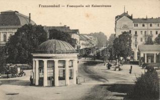 Frantiskovy Lazne, Franzensbad; Franzensquelle, Kaiserstrasse / fountain, street, Cafe, Restaurant Palace Hotel