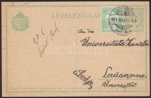 1914 Díjkiegészített díjjegyes levelezőlap KARÁNSEBES- Svájcba