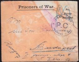 cca. 1916 Hadifogolylevél Isle of Man-ról Budapestre (elszíneződött)