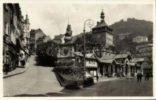 Karlovy Vary, Karlsbad; Marktbrunn, Stadtturm / fountain, tower, shop of Kristall Küchler