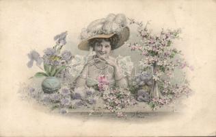 Lady with flowers s: Kränzle, Hölgy virágokkal s: Kränzle