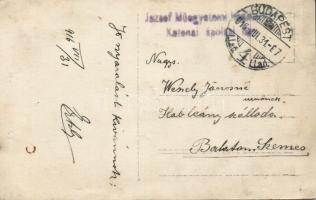 1916 Képeslap a budapesti József Műegyetem hadikórházból
