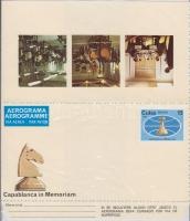 Capablanca, chess unused aerogramm, Capablanca, sakk használatlan aerogramm, Capablanca, Schach ungebrauchtes Aerogramm