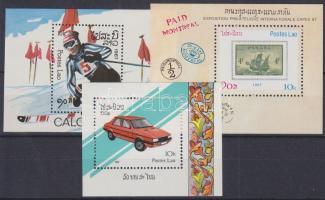 1987-1988 Olimpia, bélyegkiállítás, autók 3 klf blokk Mi 116, 117, 120